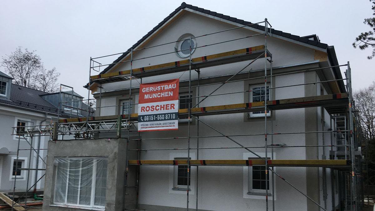 Gerüstbau München - Waldstraße in Pullach bei München - Malergerüst, Arbeitsgerüst